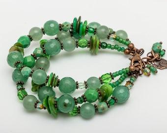 Chunky multistrand Aventurine and glass bead handmade gemstone bracelet
