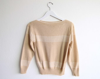 VINTAGE Sweater Knit Top Striped Light Caramel Small