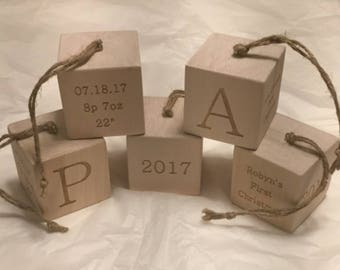 Personalized Laser Engraved Wood Cube Ornament Babys First Christmas