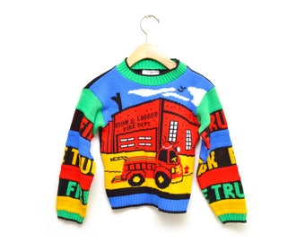 80s Fire Truck Toddler Sweater Size 24 JJ Poole Made in USA Small 8