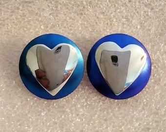 Vintage 1980's Blue Niobium & Sterling Silver 2 Part Heart Stud Post Earrings