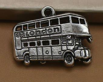 10 Double-decker Bus Charm, 25x19mm Antique Silver Tone Double-decker Bus Charm, London Double-decker Bus