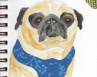 "Pug Print - Sketchbook Series - Watercolor & Collage - ""Flapdoodle"""