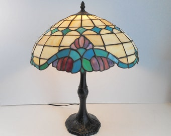 Large Stained Glass Lamp Teal and Black