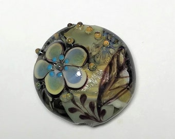NEW! Flower Focal Lentil Lampwork Glass Bead Set - Contemporary Collection