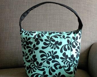 Insulated lunch bag, Women lunch bag, Work lunch bag, Bento box bag, Girl school lunch bag, Aqua Fancy Frond by Melissa Ybarra