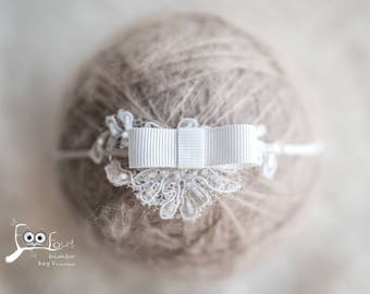 christening headband with lace app and simple bow