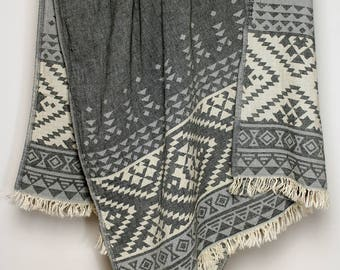 Geometric Throw Blanket | Ornament Beach Towel | Southwestern Style Armchair Cover | Black White Towel Throw | Soft Stonewashed Pure Cotton
