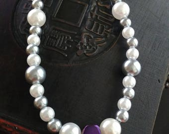 Purple charm necklace