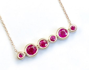 """Ruby Necklace, Ruby Jewelry, Gold Ruby Necklace, July Birthstone, 14k Gold Ruby Necklace, 20"""" Ruby Necklace, Asymmetrical, Layer, Nixin"""