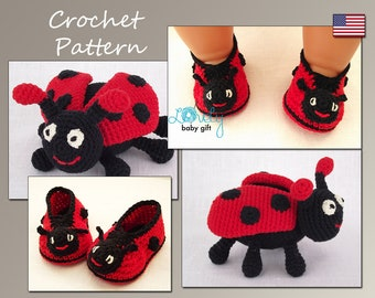 Crochet Pattern Deal, Amigurumi Toy and Ladybug Booties Crochet Patterns, Ladybug Set, Instant Download
