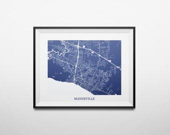Mandeville, Louisiana Northshore Abstract Street Map Print