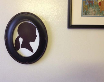 Custom Silhouette Portrait - Oval Framed 5x7 Silhouette  - Unique Present