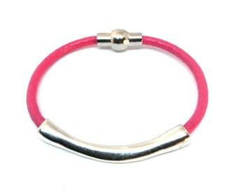 Leather Stacking Bracelet, Tube Bangle, Layering Bracelet, Gift for Her, Stacking Bracelet, Magnetic Bracelet