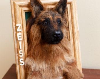 Needle Felt German Shepherd Sheltie ALL Breed Custom Picture Frame 3D Wool Sculpture 5x7 of Your Pup