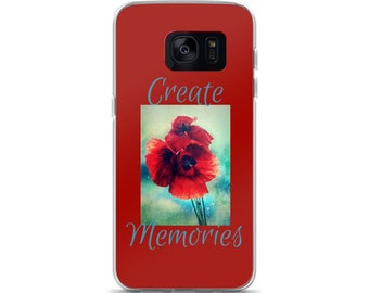 Create Memories Red Poppy Floral Design Cell Phone Case  Samsung Galaxy S7, S8, S8+, S7 Edge