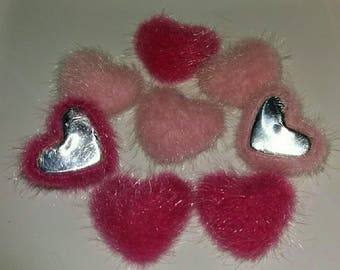 set of 8 hearts hairy all soft