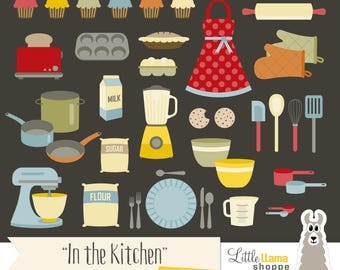 Kitchen Clipart, Baking and Cooking Clip Art Set, Instant Download, Commercial Use