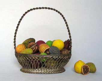 Very Elegant, Vintage French Silver-plated Wire Fruit Basket