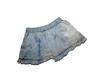 READY to Ship Baby Girl Bleached Acid Wash Girls  Chambray skirt distressed skirt distressed denim