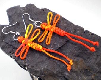 Dragonfly Earrings, Dragonfly Knot Earrings, Chinese Knot Earrings, Macrame Dragonfly, Chinese Knot Dragonfly, Knotted Dragonfly (Sunset)