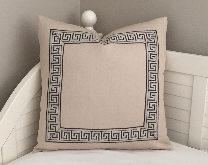 Greek Key Beige Linen Designer Pillow Cover with Pewter Greek Key Trim - Square and Euro Sizes