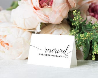 Reserved Sign Wedding Reserved Table Sign Reserved Card - Reserved place card template