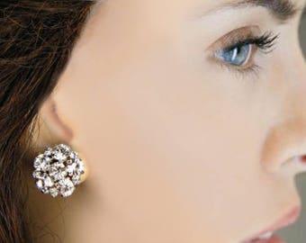Wedding earrings, Bridal Jewelry, Crystal Post silver stud Earrings, Silver Bridal Jewelry, Wedding Jewelry, Small Simple Earrings