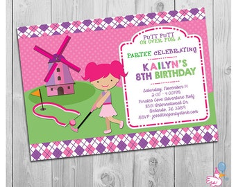 Mini golf invitation Etsy