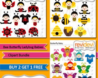Baby in costume clipart bundle sale, commercial use / Bee Butterfly Ladybug Babies, digital images
