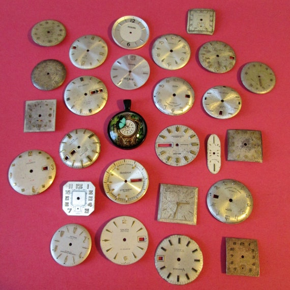 26 Vintage Wrist Watch Dials - Mixed Metals for your Watch Projects - Jewelry Making - Steampunk Art