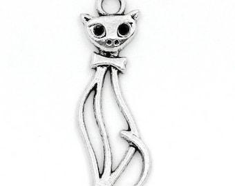 lot 5 metal cat charms silver 34 mm x 11 mm