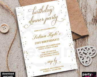 Dinner invitation etsy birthday dinner invitation template birthday party 21st birthday gold dinner invitation birthday filmwisefo Choice Image