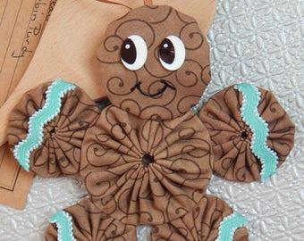 Gingerbread Yo Yo  Ornament with Aqua Ric Rac - Gingerbread Cookie GB64/65