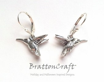 Silver Hummingbird Earrings - Hummingbird Earrings - Bird Earrings - Bridesmaid Earrings - Wedding Earrings - Hummingbird Jewelry