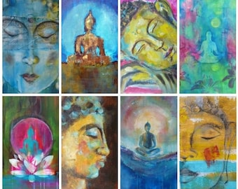 40 Spiritual Buddha Tarot Cards with Buddhist quotes in English