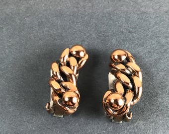 Vintage Renoir Slave link style copper clip earrings