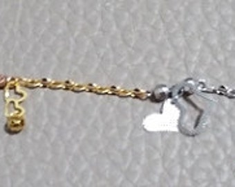 14k Tri-Color gold layer on 925 Sterling Silver dangling Key And Hearts Charms Bracelet