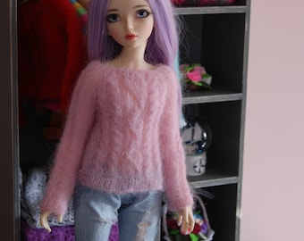 Knitted sweater for MSD bjd doll.
