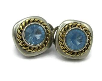 Joan Rivers Two Tone Light Blue Rhinestone Post Pierced Earrings Designer Signed Vintage Costume Jewelry Swarvoski Crystals