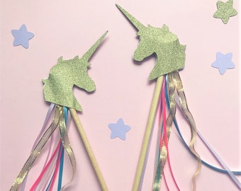 Unicorn ribbon wand, perfect party favour or party decoration for a unicorn birthday. Unicorn wand, party wand, unicorn decorations