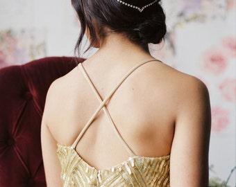 Unique Simple Bridal Headpiece Draped V Wedding Headband unusual head chain hair jewelry pins bandeau boho bohemian forehead circlet 225