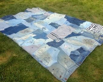 Blue Jean Patchwork Quilt - Upcycled Denim Crazy Quilt - Queen Size Quilt