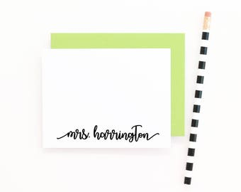 Personalized Teacher Stationery Personalized Stationary Set Teacher Gift Ideas Personalised Note Cards for Teachers Custom Script Stationary