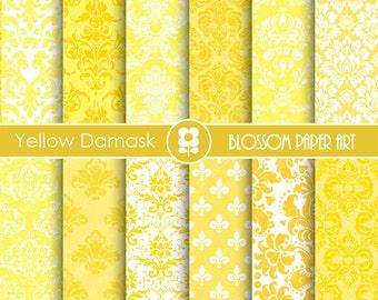 Yellow Digital Paper, Yellow Damask Digital Paper  Scrapbook Paper Pack, Scrapbooking - INSTANT DOWNLOAD  - 1759