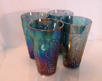 4 Carnival Glass Tumblers by Indiana Glass Co.