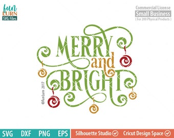 Merry and Bright svg, ornaments, swirls, Christmas SVG, leaf, leaves dxf, eps png for silhouette cameo, cricut air etc