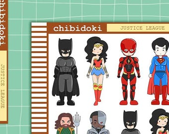 Cute Justice League Planner Sticker Set    Erin Condren Planner  Kikki K   Filofax   Plum Planner    Happy Planner