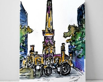 PRINT of Water tower and carriage Chicago. from my original ink and watercolor sketch