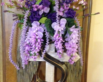 Golden Tin Angel Wings Memory Wreath with purple wisteria